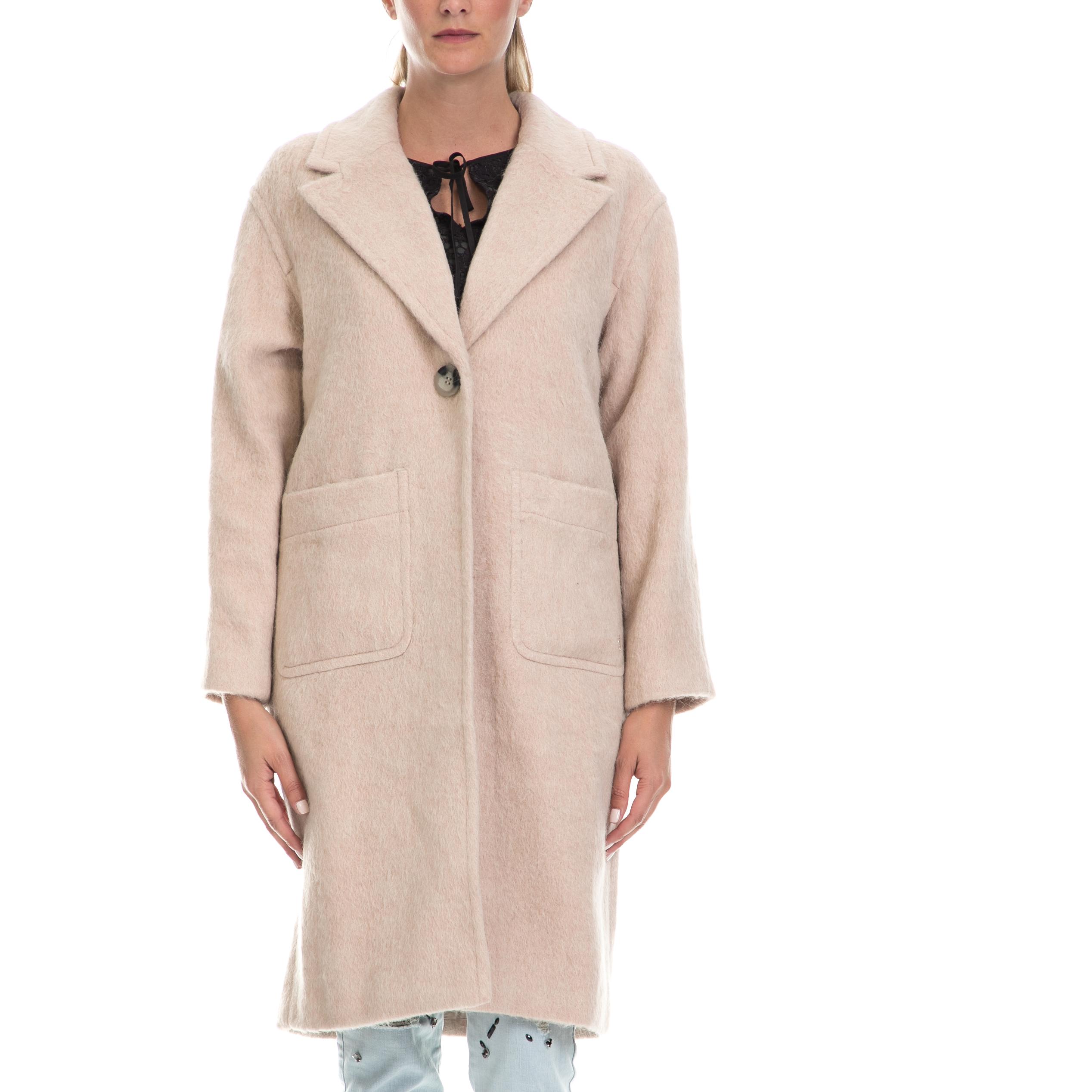 JUICY COUTURE - Γυναικείο παλτό BRUSHED WOOL COAT μπεζ γυναικεία ρούχα πανωφόρια παλτό
