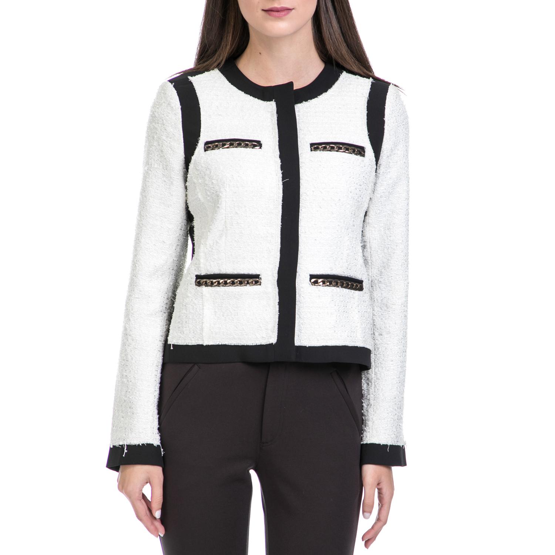 JUICY COUTURE - Γυναικείο σακάκι HW PAPER TWEED JACKET μαύρο-λευκό γυναικεία ρούχα πανωφόρια σακάκια
