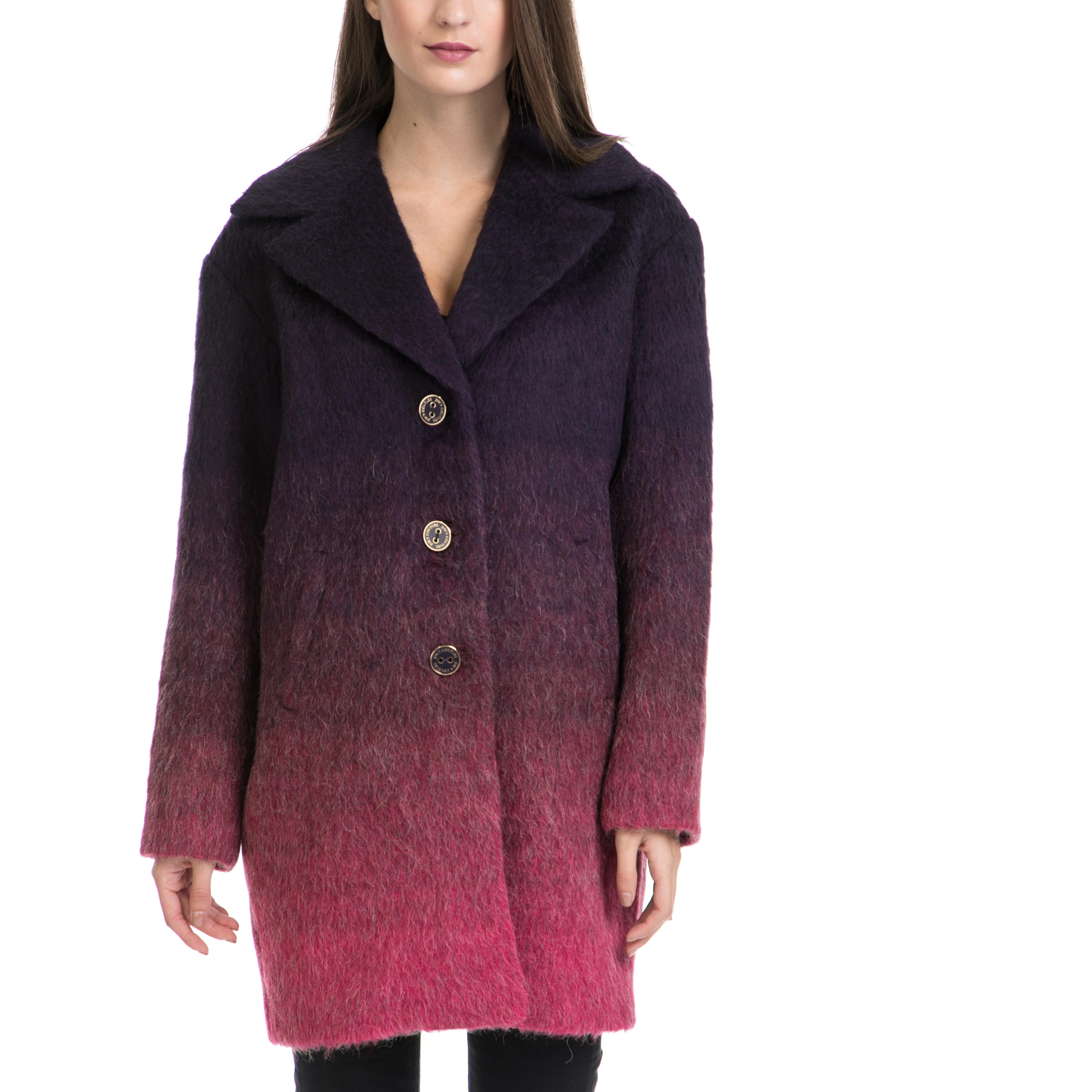 JUICY COUTURE - Γυναικείο παλτό WOOLY OMBRE COAT μωβ γυναικεία ρούχα πανωφόρια παλτό