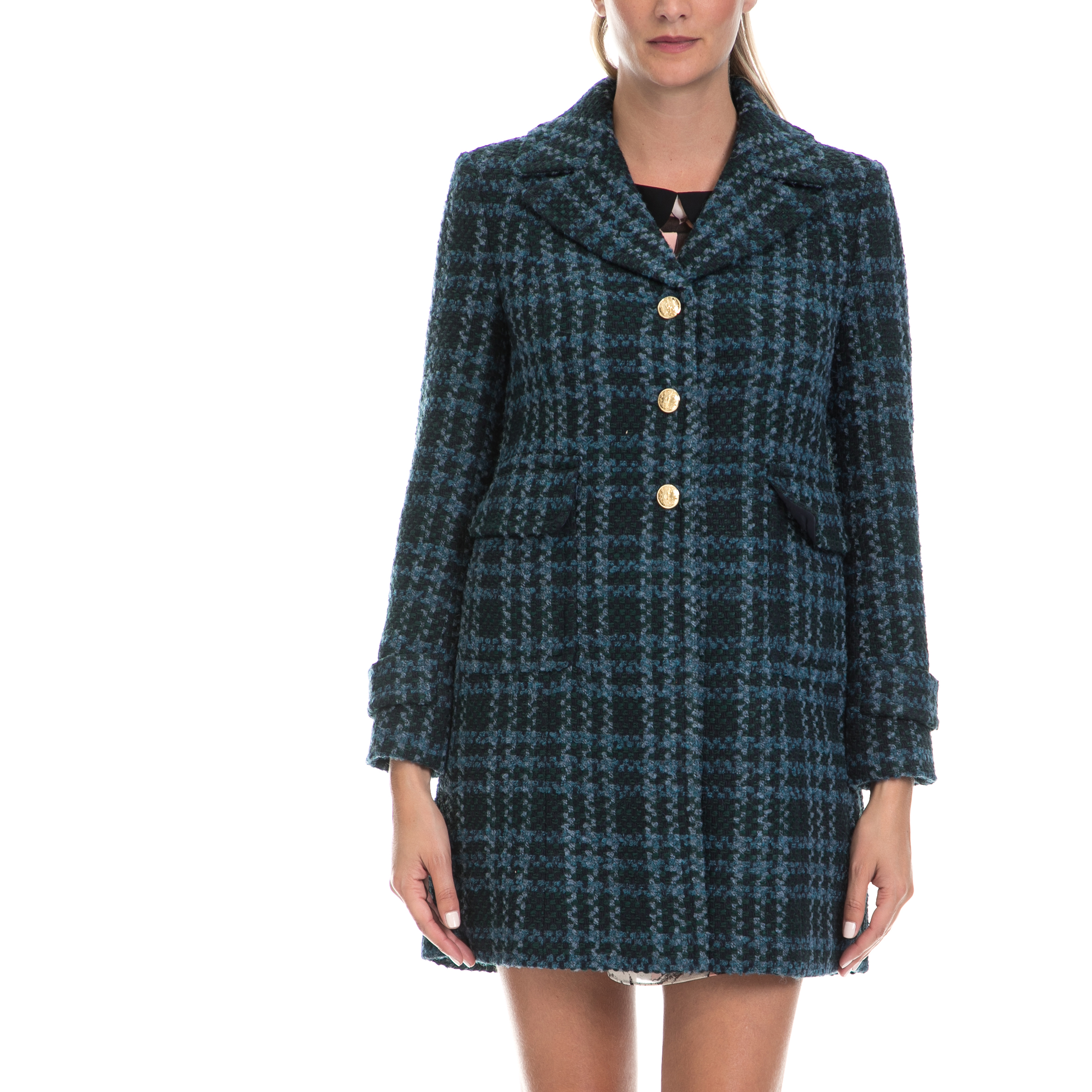 JUICY COUTURE - Γυναικείο παλτό BASKETWEAVE PLAID COAT πράσινο γυναικεία ρούχα πανωφόρια παλτό