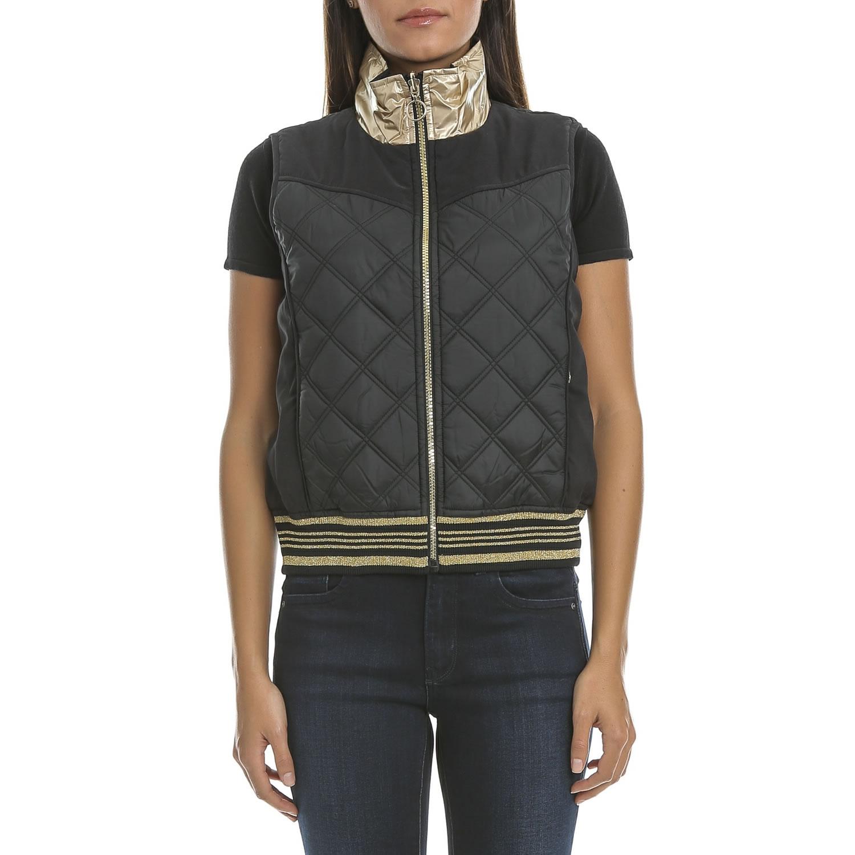 JUICY COUTURE - Γυναικείο γιλέκο διπλής όψης JUICY μαύρο-χρυσό γυναικεία ρούχα πανωφόρια αμάνικα μπουφάν