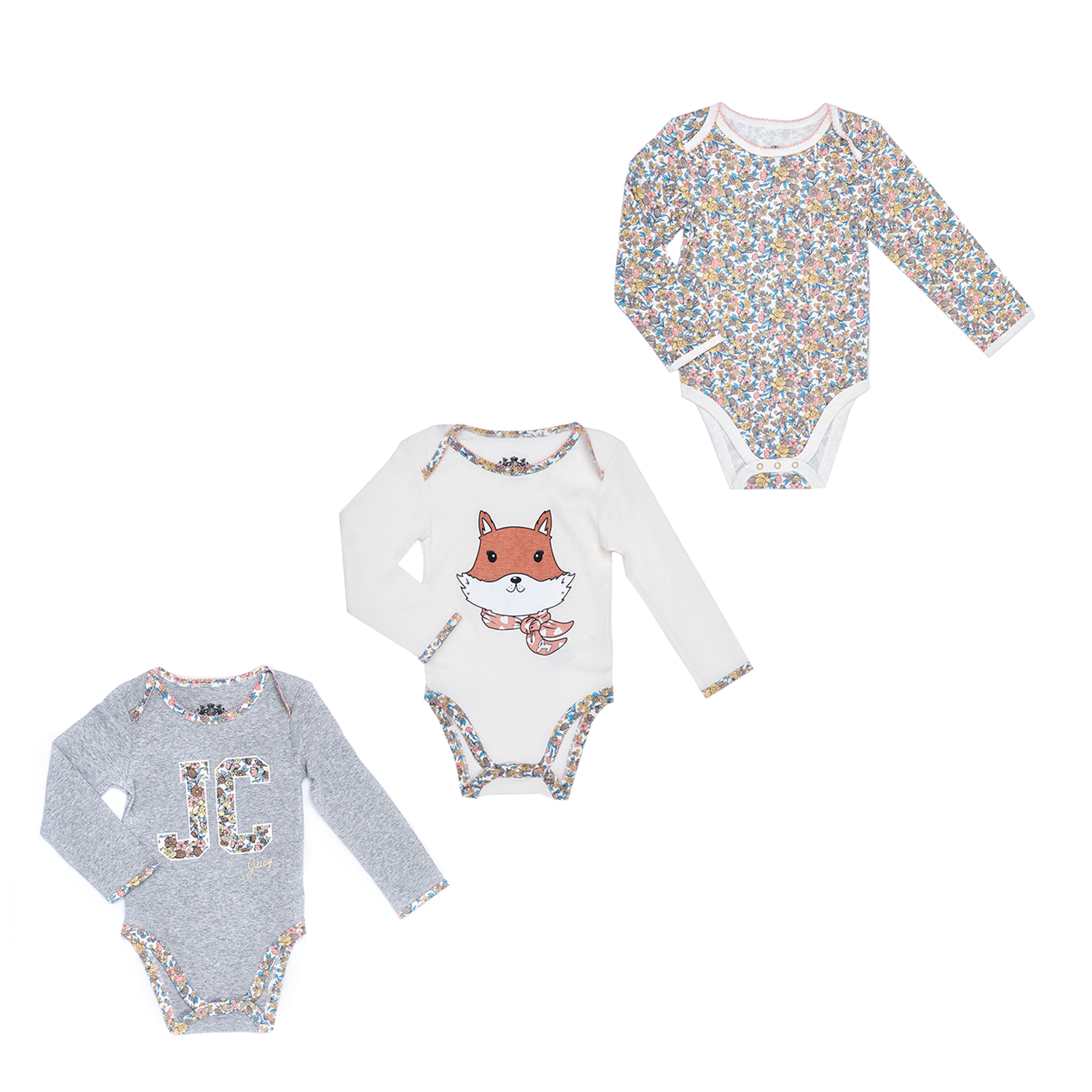 8ed2deecce19 JUICY COUTURE KIDS – Βρεφικό σετ JUICY COUTURE KIDS εμπριμέ-γκρι-άσπρο