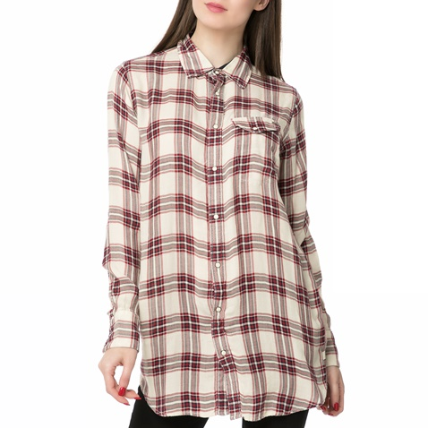 06b2544cd8 Γυναικείο μακρυμάνικο καρό πουκάμισο Tacoma long check εκρού-μπορντό - G-STAR  RAW (1480949.0-9146)