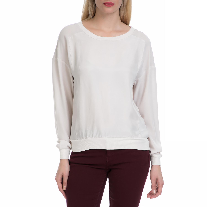 CALVIN KLEIN JEANS - Μακρυμάνικη μπλούζα Calvin Klein Jeans walo cupro λευκή γυναικεία ρούχα μπλούζες μακρυμάνικα