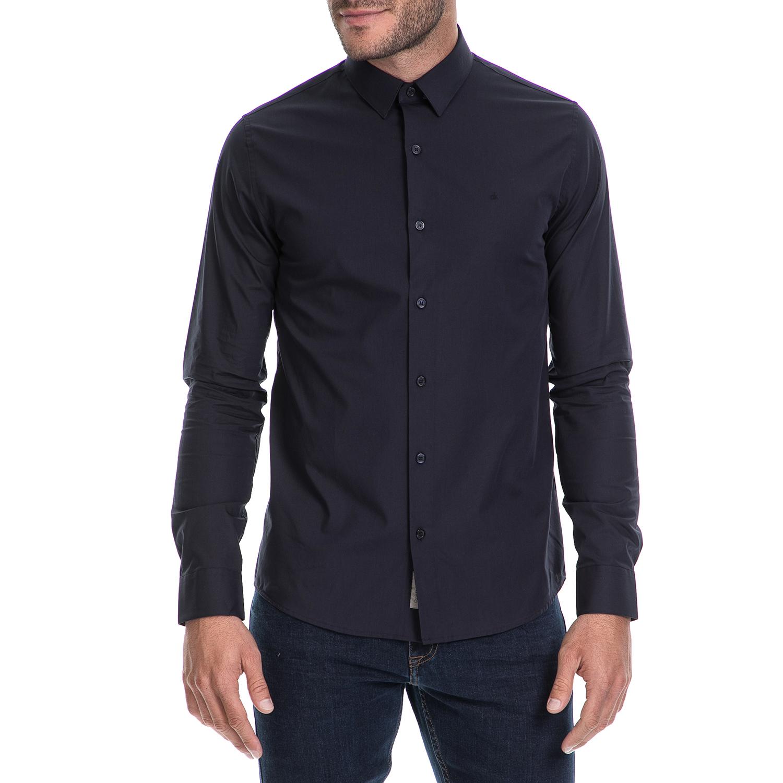 CALVIN KLEIN JEANS - Ανδρικό πουκάμισο BARI SLIM FIT μπλε ανδρικά ρούχα πουκάμισα μακρυμάνικα