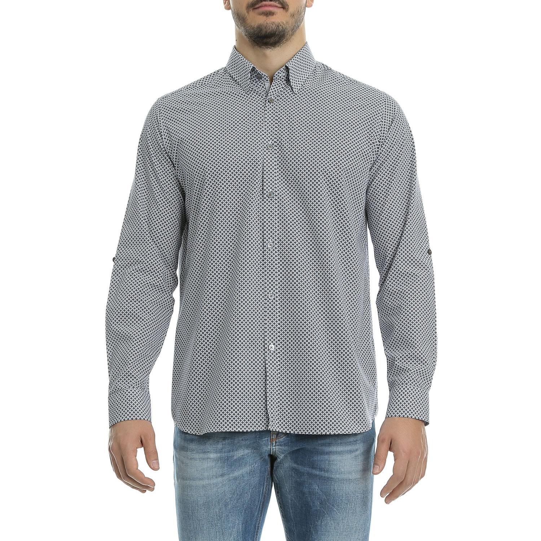 TED BAKER - Ανδρικό πουκάμισο Ted Baker μπλε-λευκό ανδρικά ρούχα πουκάμισα μακρυμάνικα
