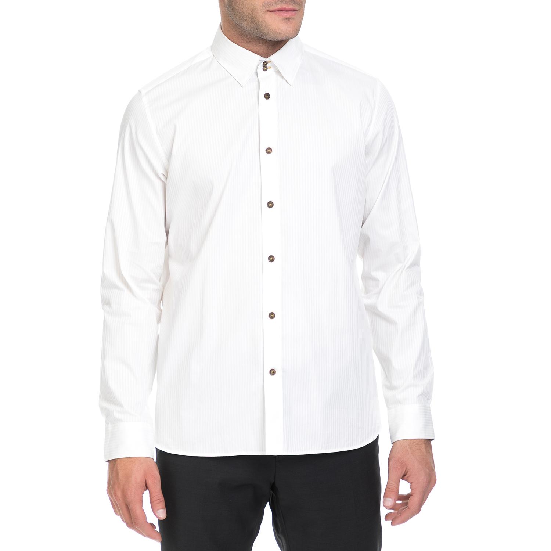 TED BAKER - Ανδρικό πουκάμισο GOODY TED BAKER λευκό ανδρικά ρούχα πουκάμισα μακρυμάνικα