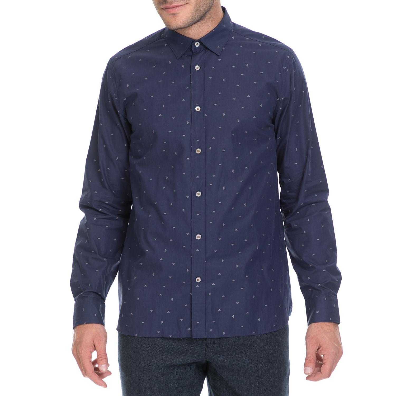 TED BAKER - Ανδρικό πουκάμισο ICEREAM TED BAKER μπλε ανδρικά ρούχα πουκάμισα μακρυμάνικα