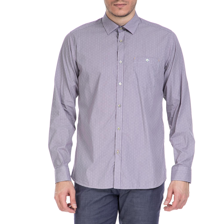 TED BAKER - Ανδρικό μακρυμάνικο πουκάμισο Ted Baker μοβ με print ανδρικά ρούχα πουκάμισα μακρυμάνικα