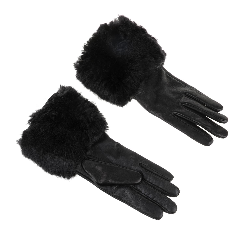 TED BAKER - Γυναικεία γάντια με οικολογική γούνα TED BAKER μαύρα γυναικεία αξεσουάρ φουλάρια κασκόλ γάντια
