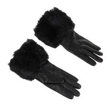 TED BAKER-Γυναικεία γάντια με οικολογική γούνα TED BAKER μαύρα