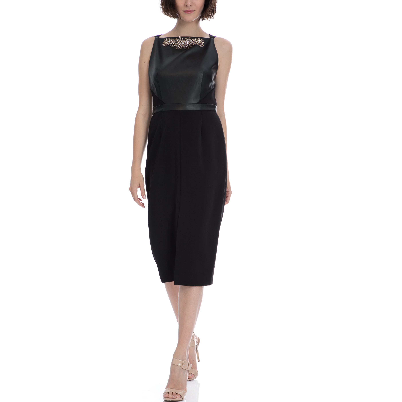 TED BAKER - Μίντι φορεμα TED BAKER KIMLA μαύρο Φόρεμα σε μαύρο χρώμα με μήκος έως το γόνατο. Αμάνικο σε στενή γραμμή. Το επάνω μέρος του είναι επενδυμένο με δέρμα και διαθέτει εντυπωσιακό κέντημα με πέτρες στη λαιμόκοψη. Έχει κάθετο σκίσιμο μπροστ