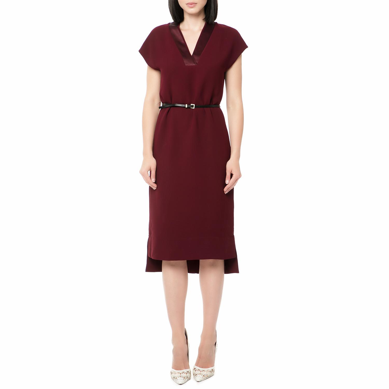 TED BAKER - Γυναικείο midi φόρεμα NELIA CONTRAST STEP HEM SHIFT μπορντό 0a4ae165dbc