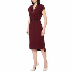 TED BAKER. Γυναικείο midi φόρεμα NELIA CONTRAST STEP HEM SHIFT μπορντό af670129450