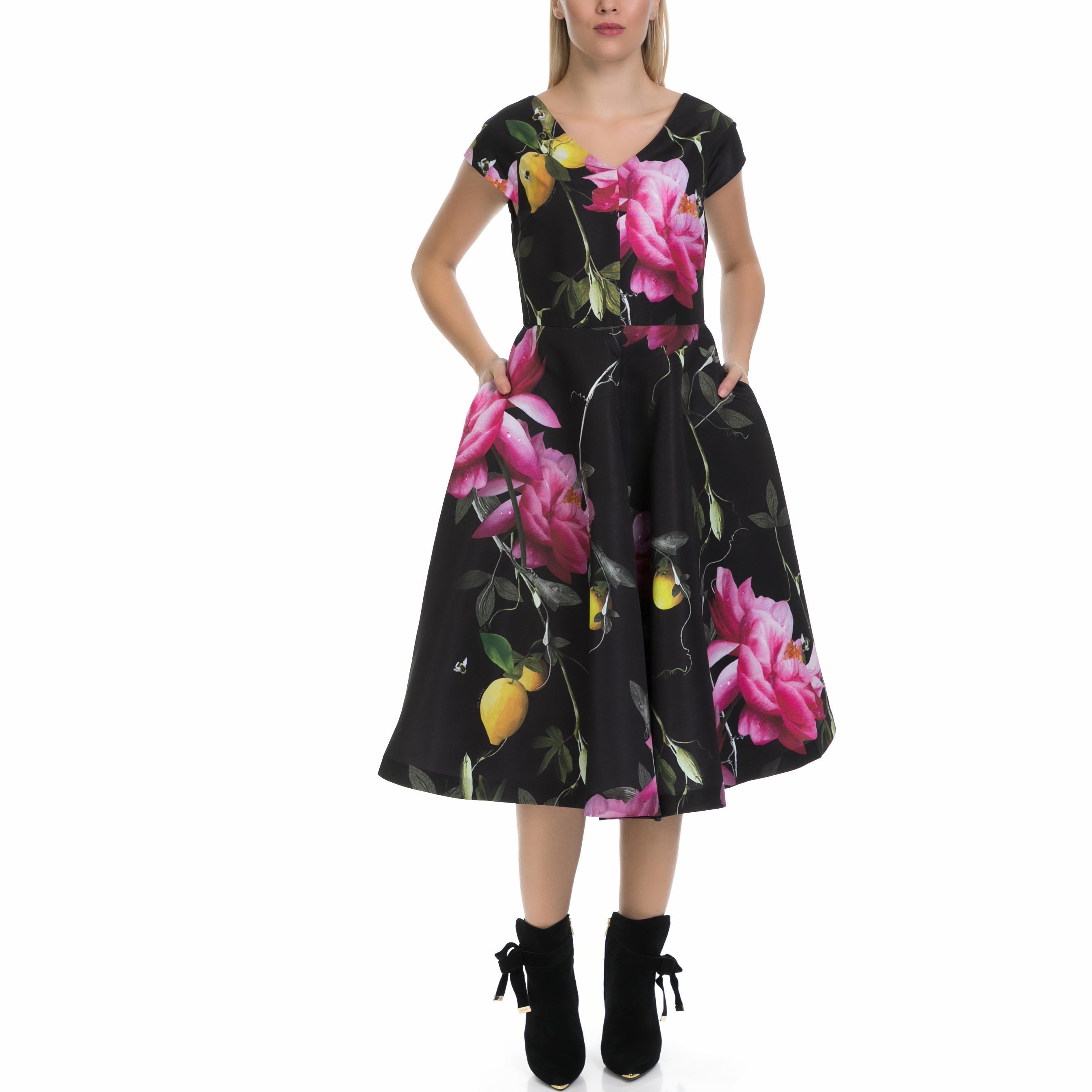 TED BAKER - Γυναικείο φόρεμα NIMAH TED BAKER μαύρο-εμπριμέ γυναικεία ρούχα φορέματα μάξι