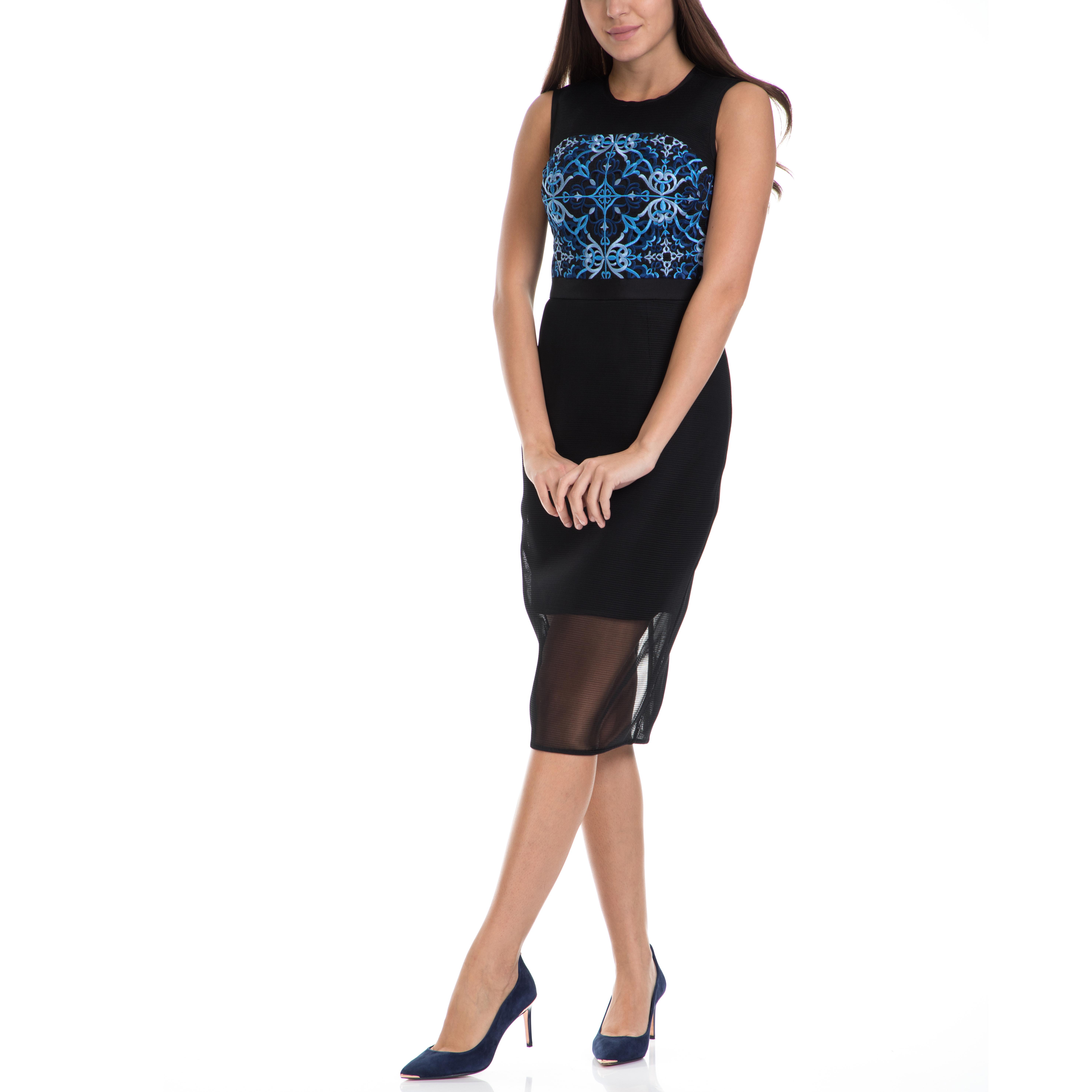 TED BAKER - Γυναικείο μίνι φόρεμα KHYA TED BAKER μαύρο-μπλε γυναικεία ρούχα φορέματα μίνι