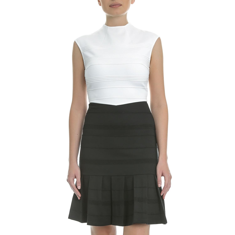 TED BAKER - Μίνι φόρεμα TED BAKER DEMORE ασπρόμαυρο γυναικεία ρούχα φορέματα μίνι
