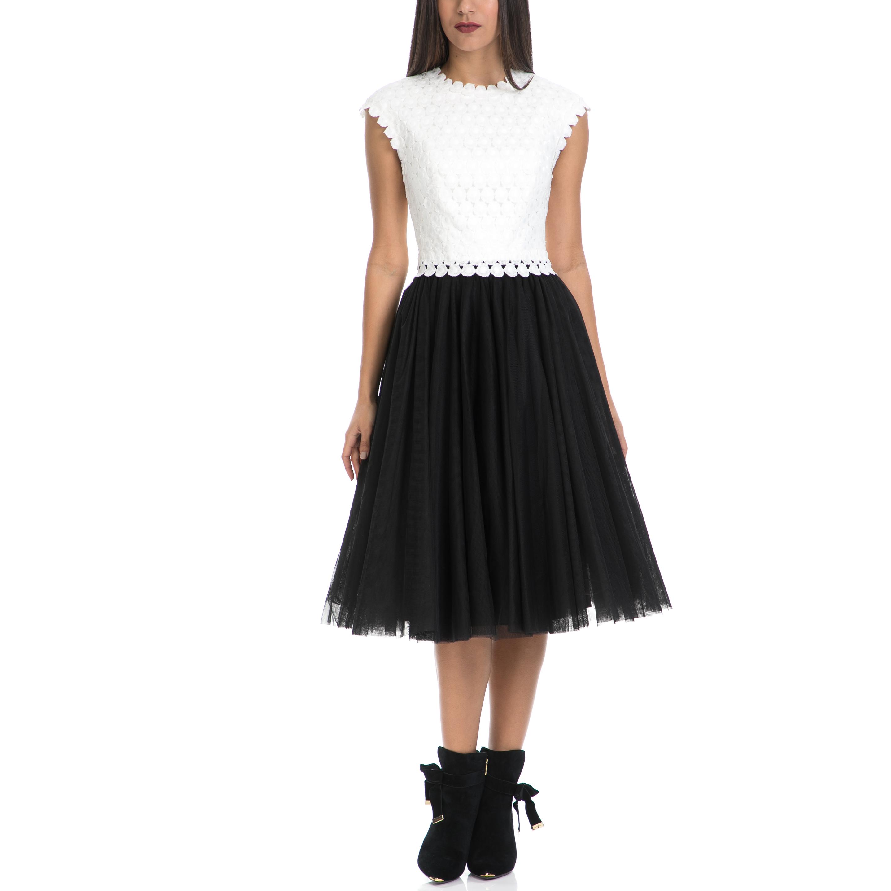 TED BAKER - Γυναικείο φόρεμα LAECI TED BAKER λευκό-μαύρο γυναικεία ρούχα φορέματα μέχρι το γόνατο