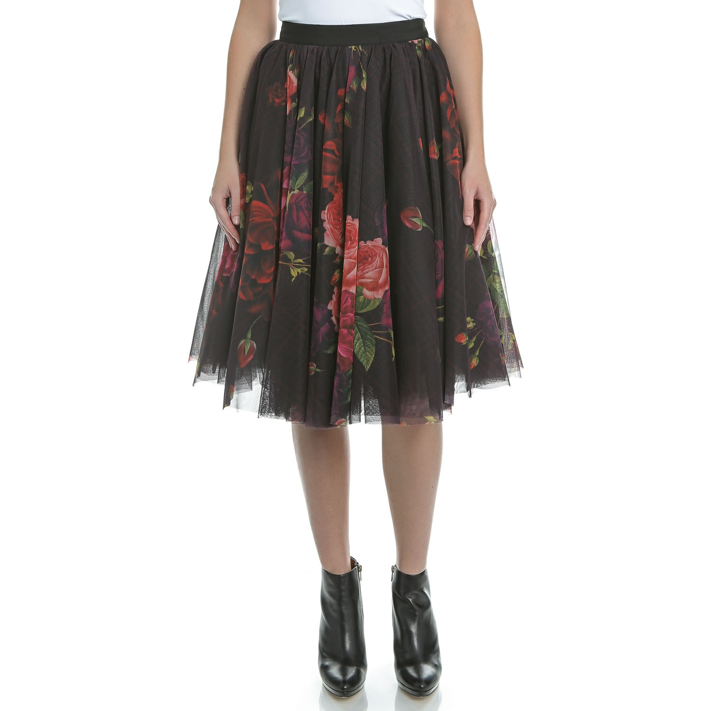 TED BAKER - Μίντι φούστα TED BAKER ONDRA JUXTAPOSE μαύρη φλοράλ γυναικεία ρούχα φούστες μέχρι το γόνατο