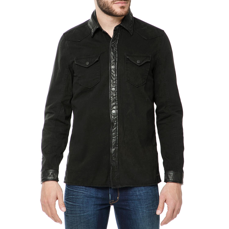GARCIA JEANS - Ανδρικό μακρυμάνικο πουκάμισο GARCIA JEANS μαύρο ανδρικά ρούχα πουκάμισα μακρυμάνικα