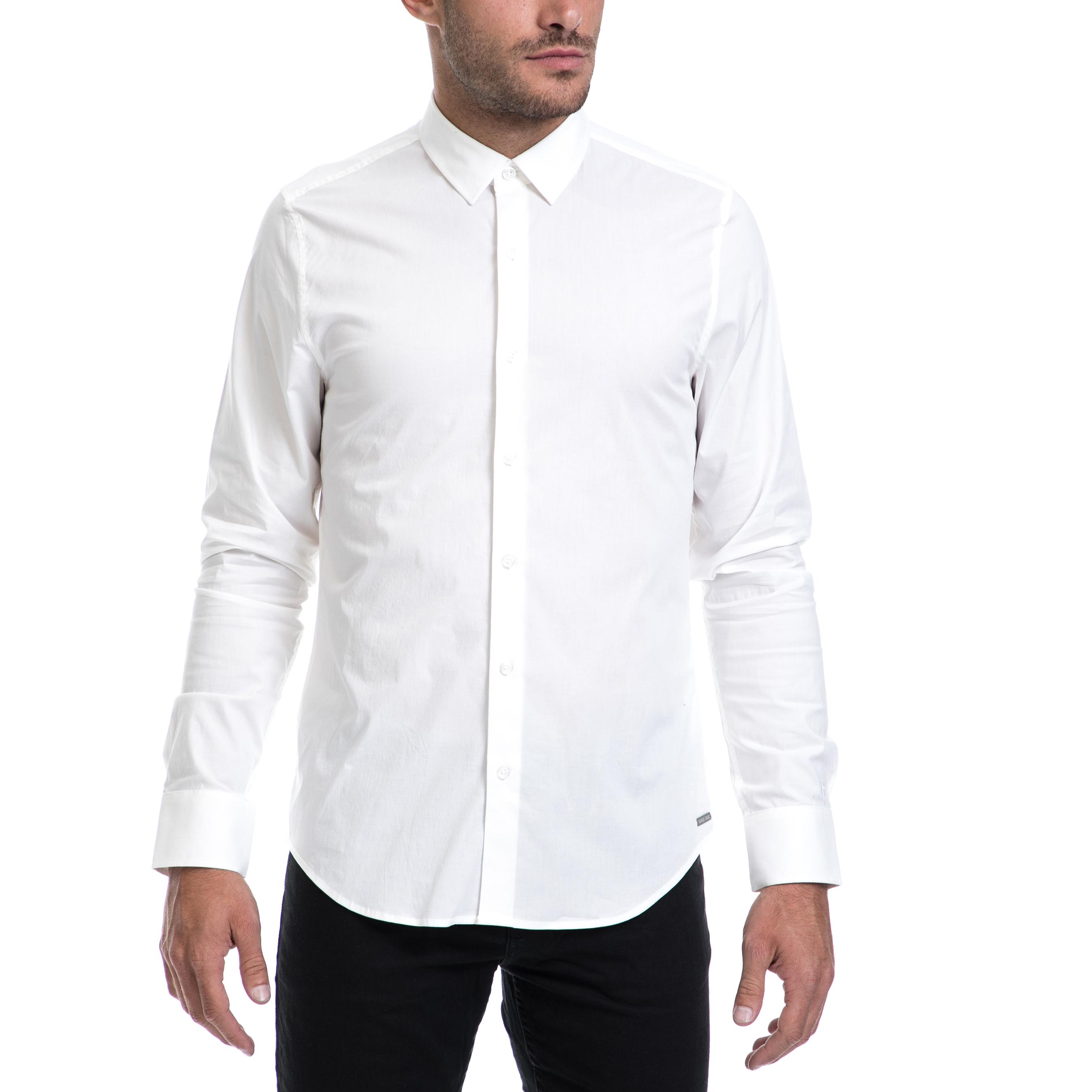 GARCIA JEANS - Αντρικό πουλάμισο Dario GARCIA JEANS άσπρο ανδρικά ρούχα πουκάμισα μακρυμάνικα
