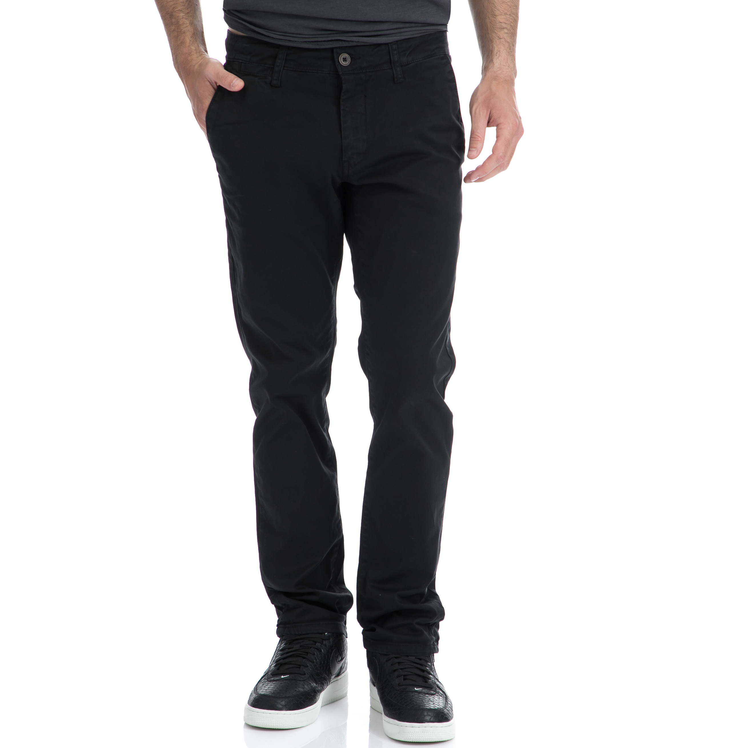 GARCIA JEANS - Αντρικό παντελόνι Garcia Jeans μαύρο ανδρικά ρούχα παντελόνια chinos