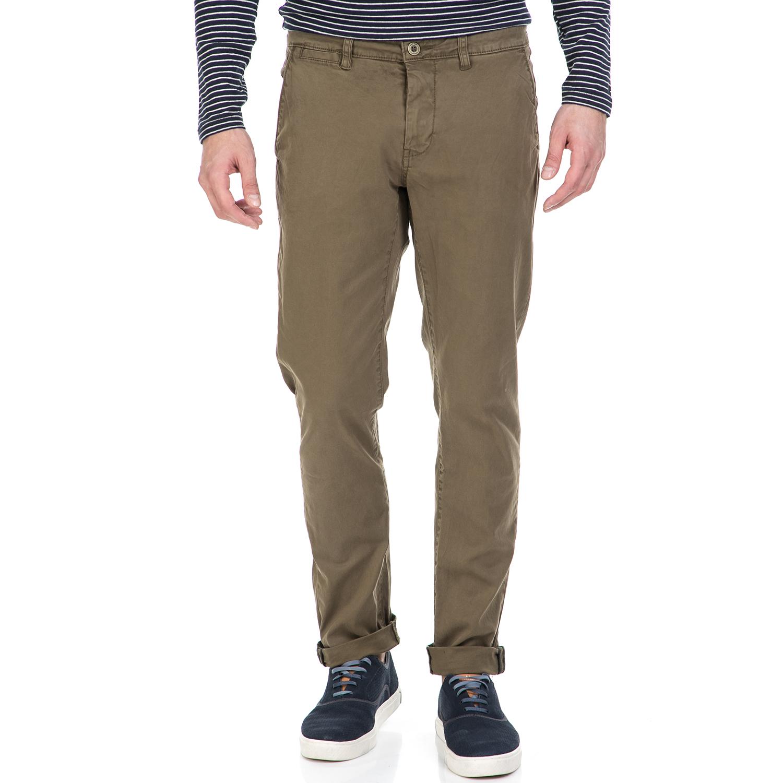 GARCIA JEANS - Ανδρικό παντελόνι GARCIA JEANS Savio χακί ανδρικά ρούχα παντελόνια ισια γραμμή