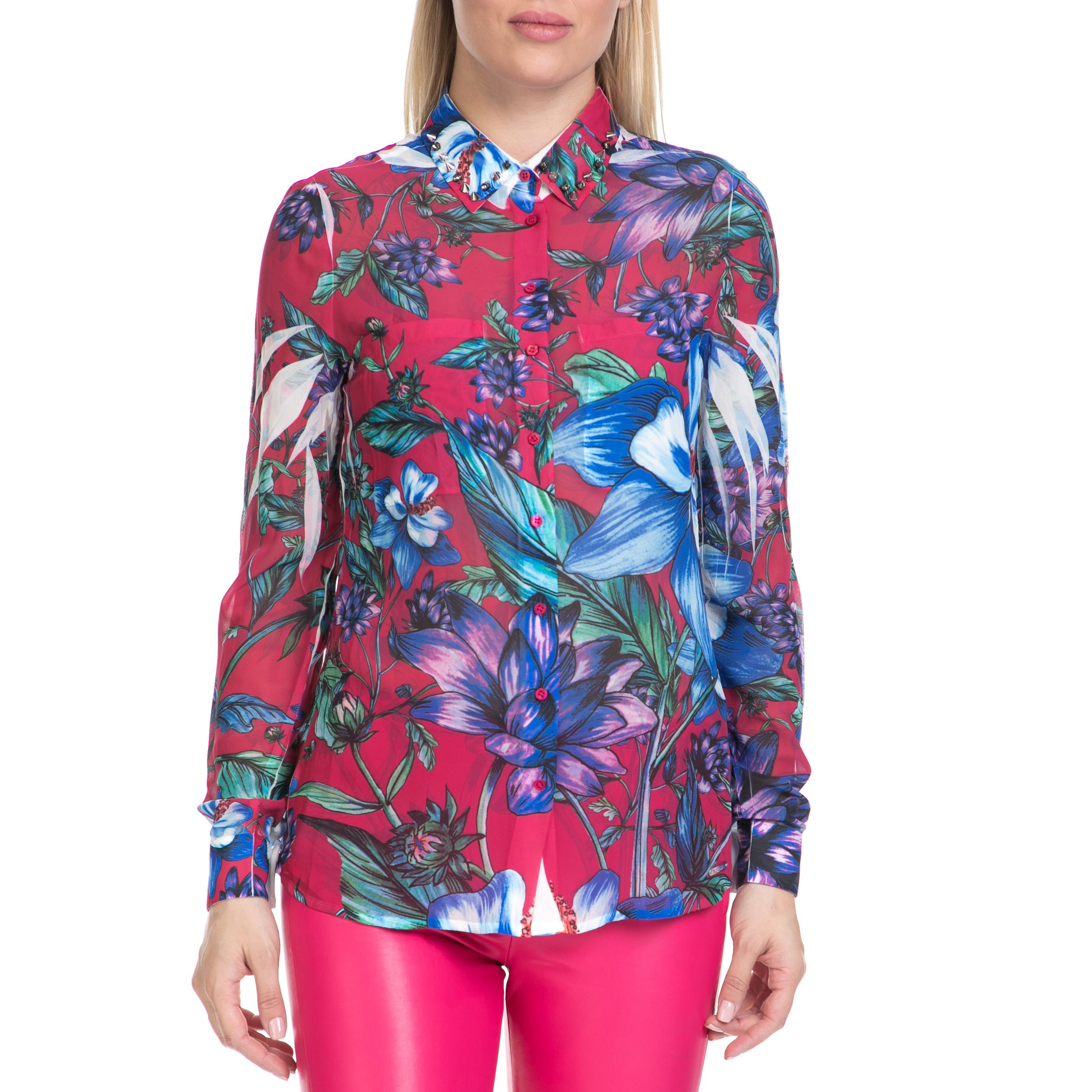 GUESS - Γυναικείο πουκάμισο CLOUIS GUESS ροζ-εμπριμέ γυναικεία ρούχα πουκάμισα μακρυμάνικα