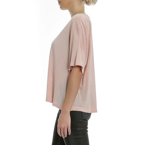 GUESS-Γυναικείο t-shirt GUESS TRIANGLE ροζ