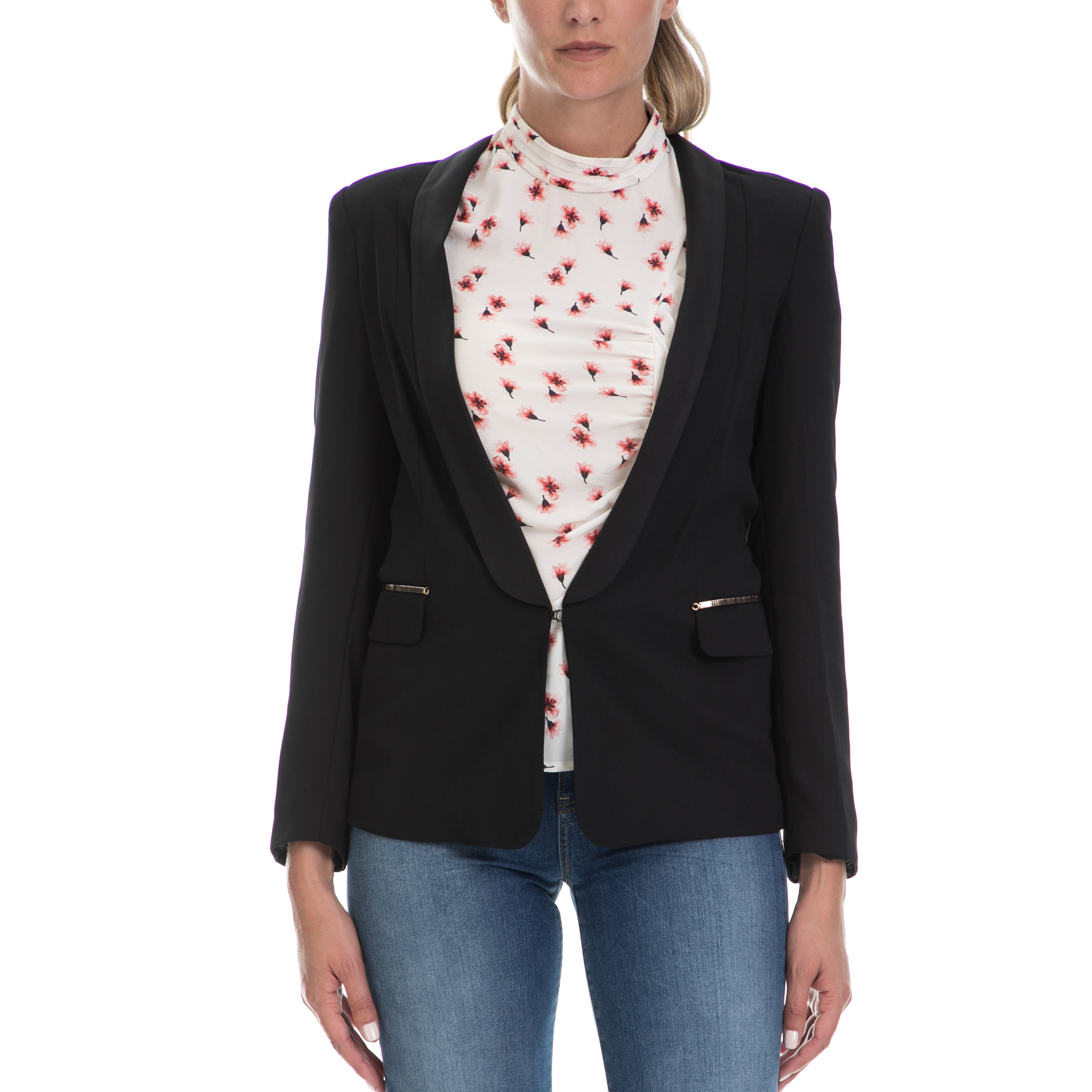 93c6d1e7fba4 GUESS - Γυναικείο τζιν πουκάμισο με τύπωμα Guess BOYFRIEND λευκό ...