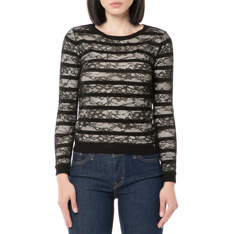 2b4670010f65 GUESS - Γυναικεία μακρυμανικη μπλούζα LARA GUESS λευκή - μαύρη