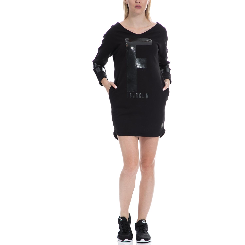 FRANKLIN & MARSHALL - Γυναικείο φόρεμα FRANKLIN & MARSHALL μαύρο γυναικεία ρούχα φορέματα μίνι