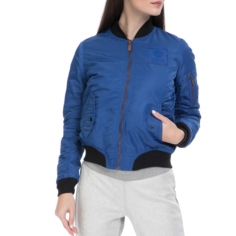 FRANKLIN & MARSHALL - Γυναικείο μπουφάν FRANKLIN & MARSHALL μπλε γυναικεία ρούχα πανωφόρια μπουφάν