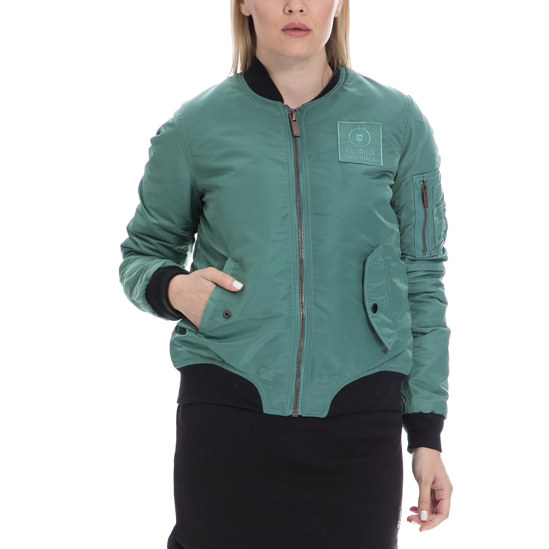 FRANKLIN & MARSHALL - Γυναικείο τζάκετ FRANKLIN & MARSHALL πράσινο γυναικεία ρούχα πανωφόρια τζάκετς