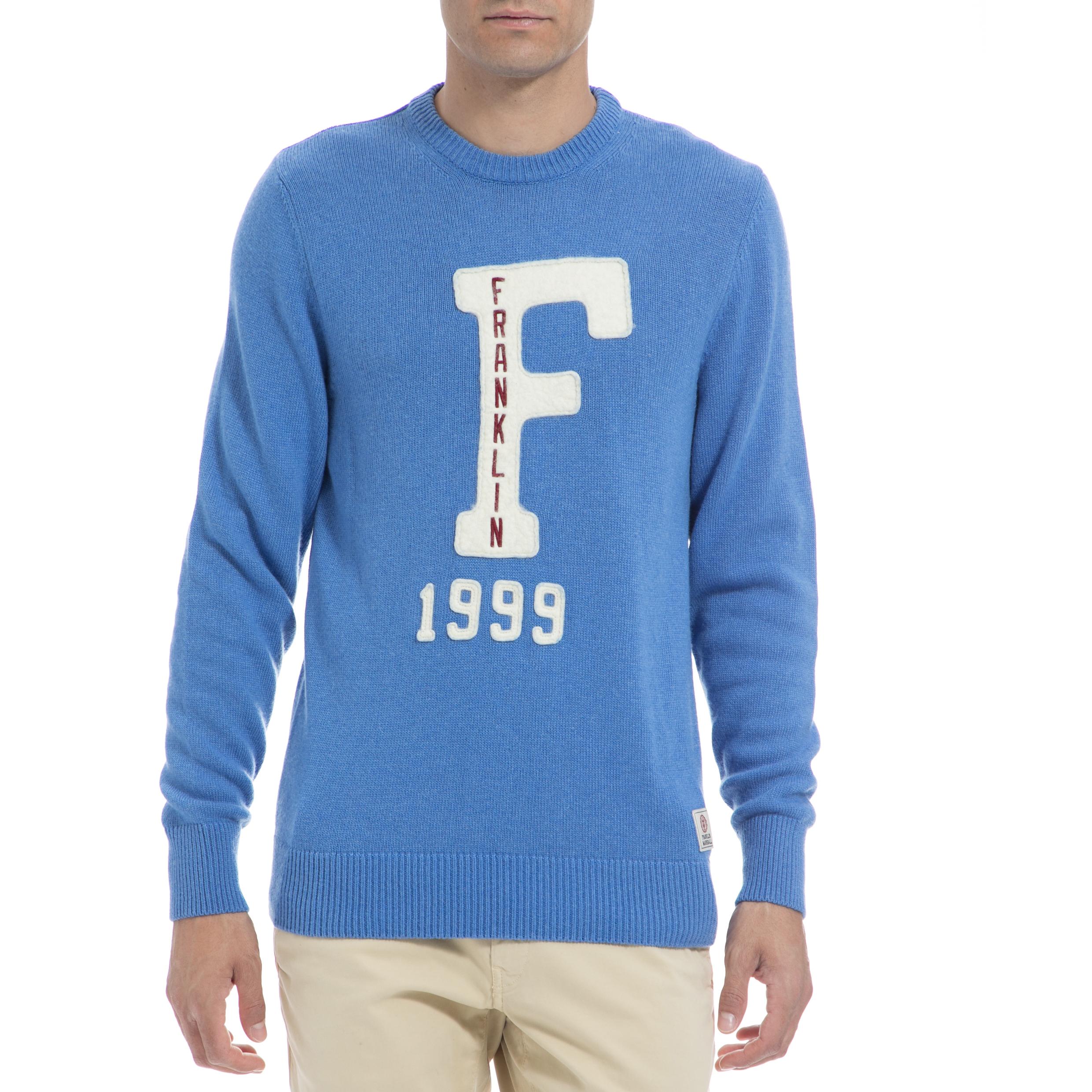 FRANKLIN & MARSHALL - Αντρικό πουλόβερ FRANKLIN & MARSHALL μπλε ανδρικά ρούχα πλεκτά ζακέτες μπλούζες