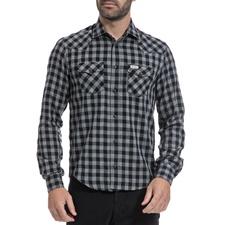 FRANKLIN & MARSHALL-Αντρικό πουκάμισο FRANKLIN & MARSHALL γκρι-μαύρο