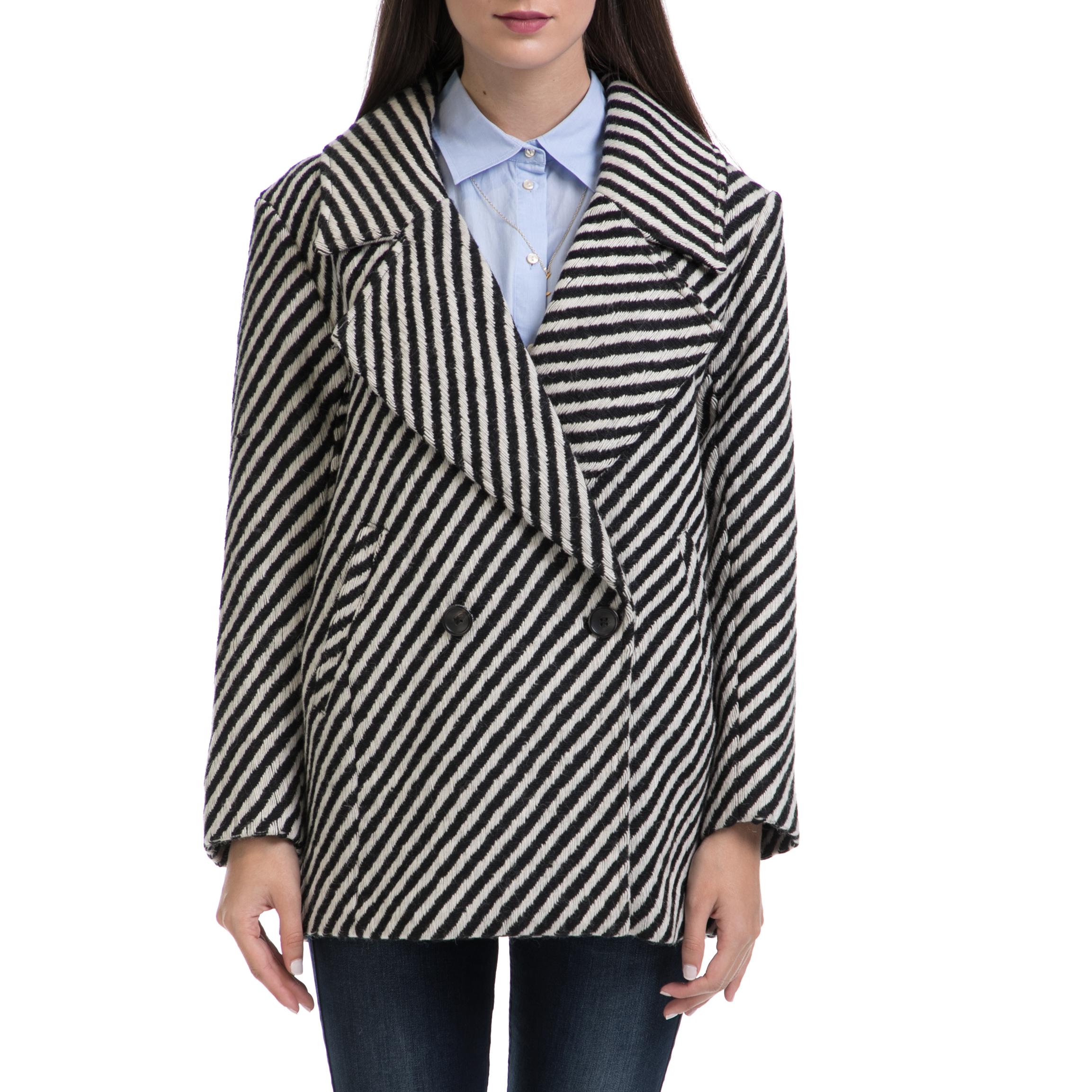 SCOTCH & SODA - Γυναικείο παλτό MAISON SCOTCH άσπρο-μαύρο γυναικεία ρούχα πανωφόρια παλτό