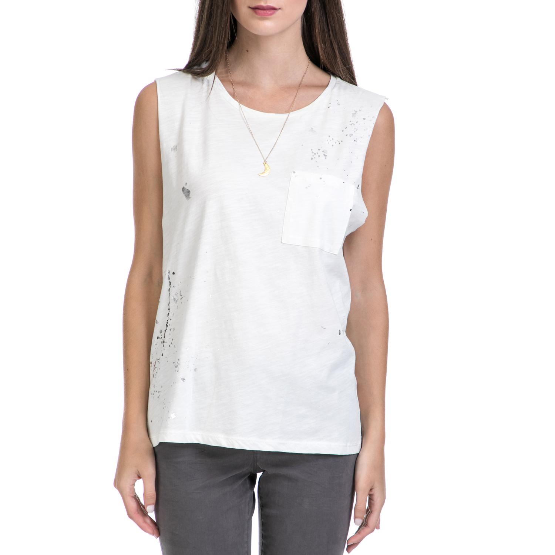SCOTCH & SODA - Γυναικεία μπλούζα MAISON SCOTCH λευκή γυναικεία ρούχα μπλούζες αμάνικες