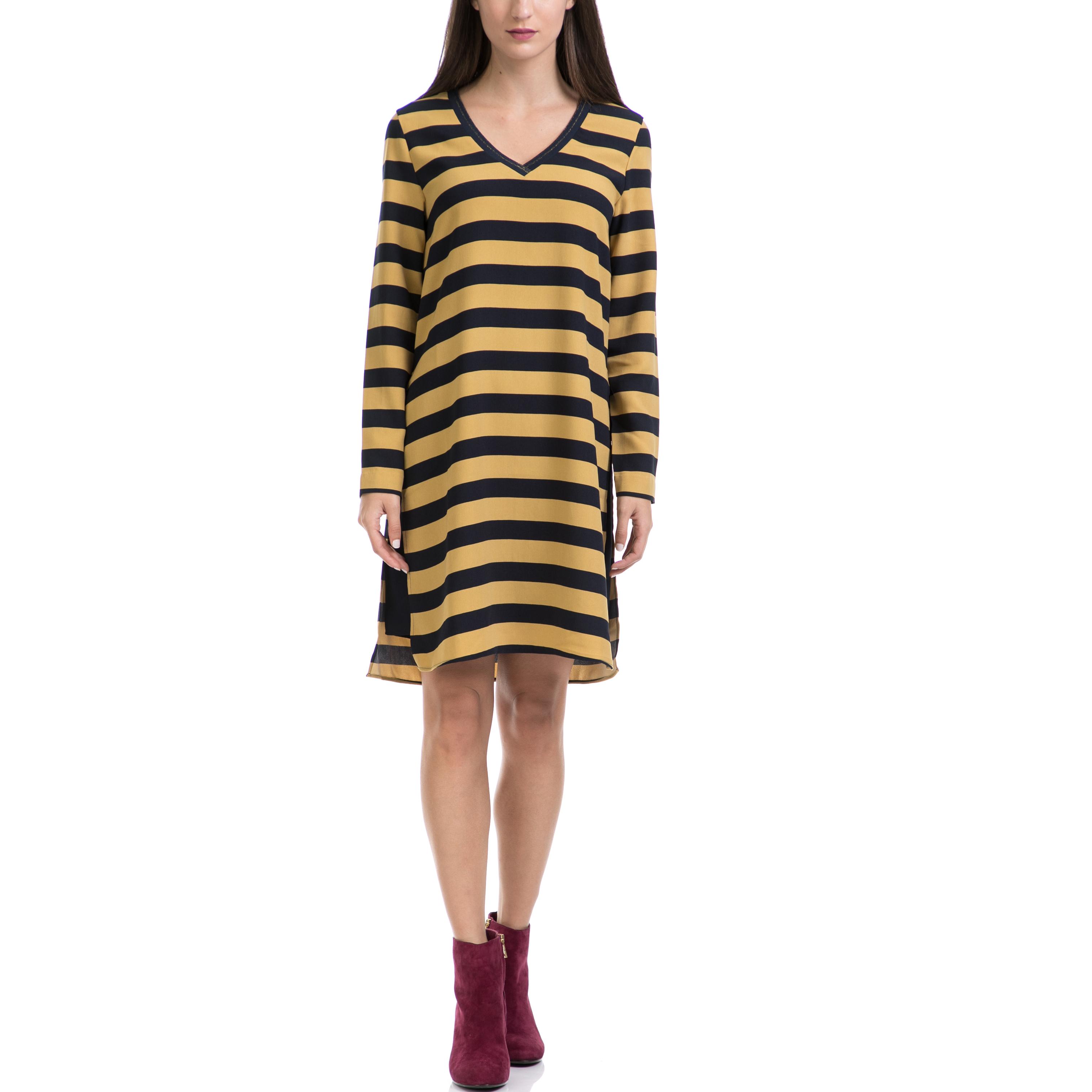 SCOTCH & SODA - Γυναικείο φόρεμα MAISON SCOTCH μαύρο-κίτρινο γυναικεία ρούχα φορέματα μέχρι το γόνατο
