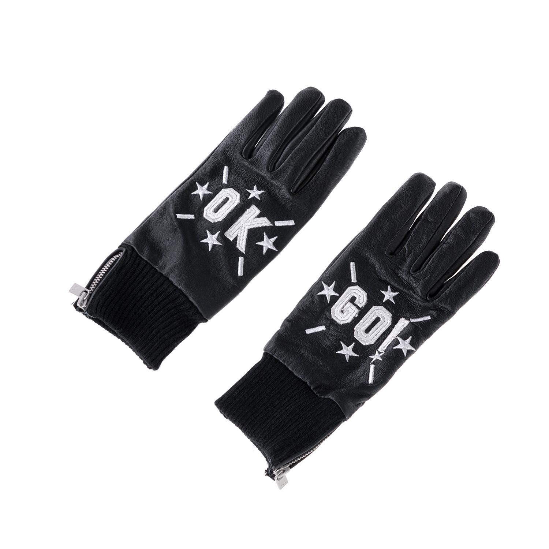 SCOTCH & SODA - Δερμάτινα γάντια MAISON SCOTCH μαύρα γυναικεία αξεσουάρ φουλάρια κασκόλ γάντια
