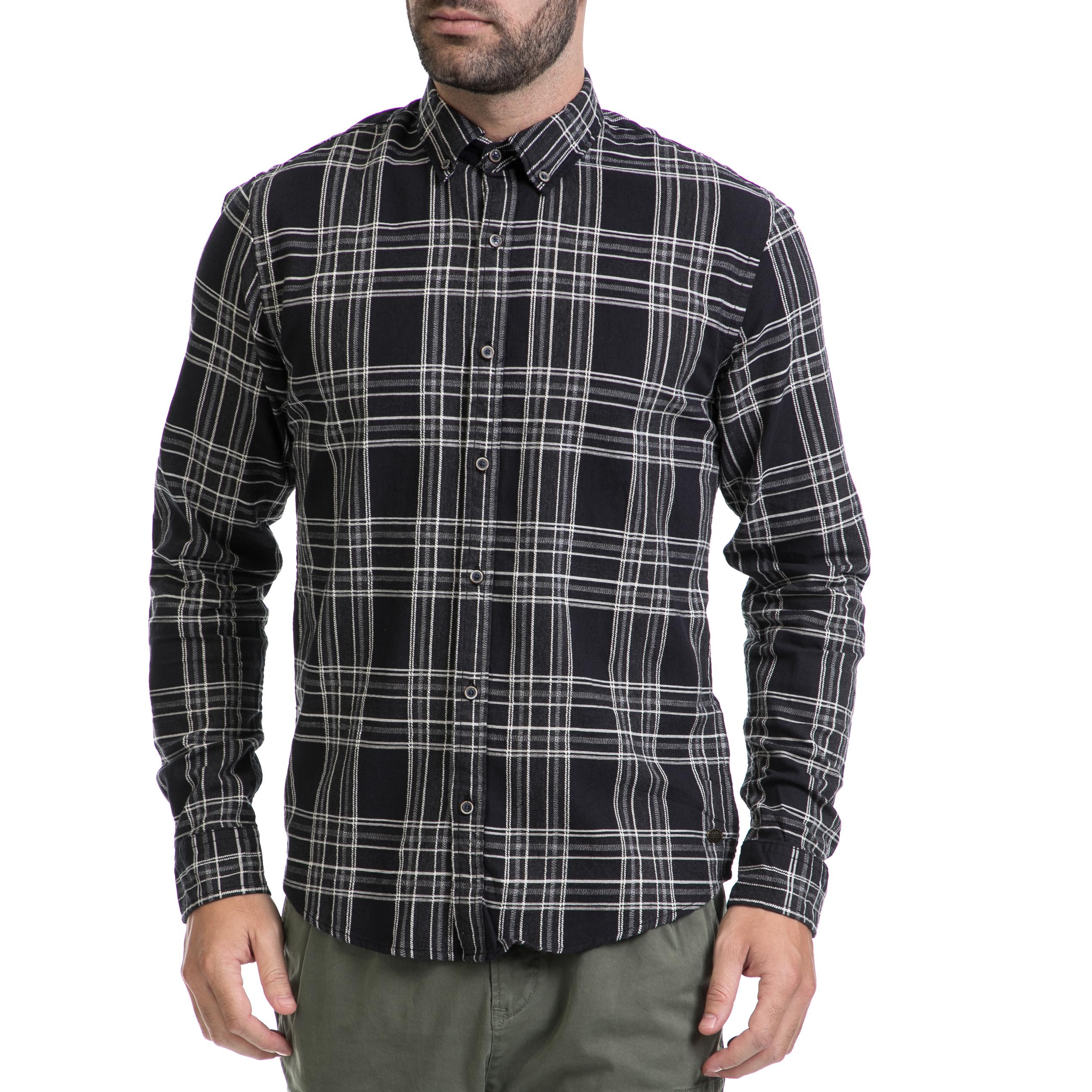 SCOTCH & SODA - Ανδρικό πουκάμισο SCOTCH & SODA μαύρο ανδρικά ρούχα πουκάμισα μακρυμάνικα