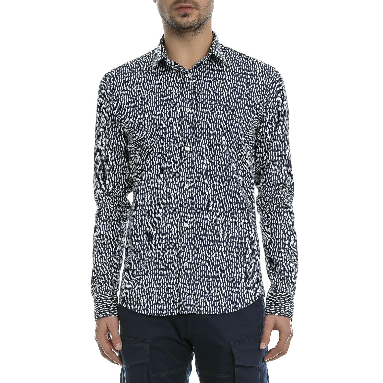 SCOTCH & SODA - Ανδρικό πουκάμισο SCOTCH & SODA μπλε-λευκό ανδρικά ρούχα πουκάμισα μακρυμάνικα