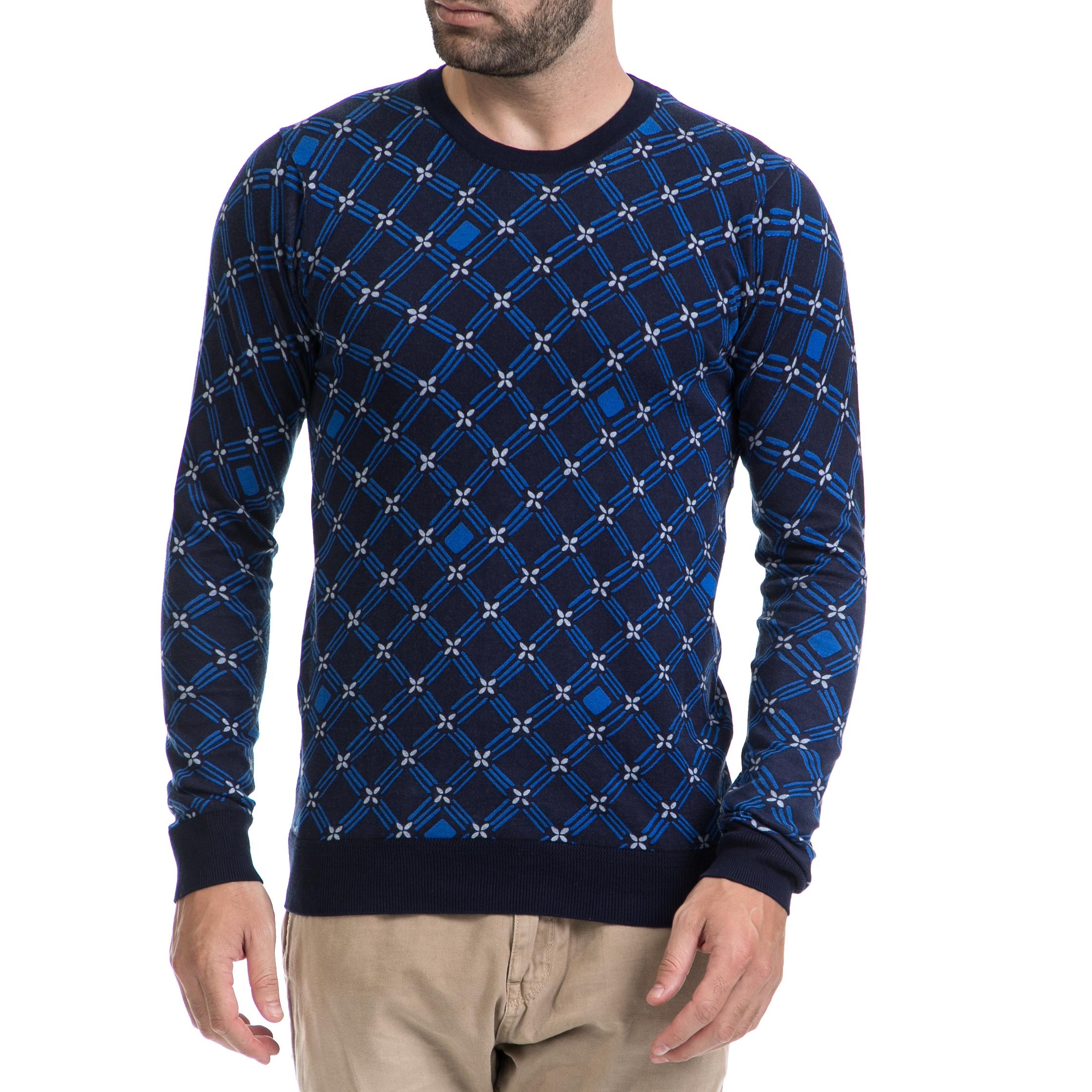 SCOTCH & SODA - Ανδρική μπλούζα SCOTCH & SODA μπλε ανδρικά ρούχα πλεκτά ζακέτες μπλούζες