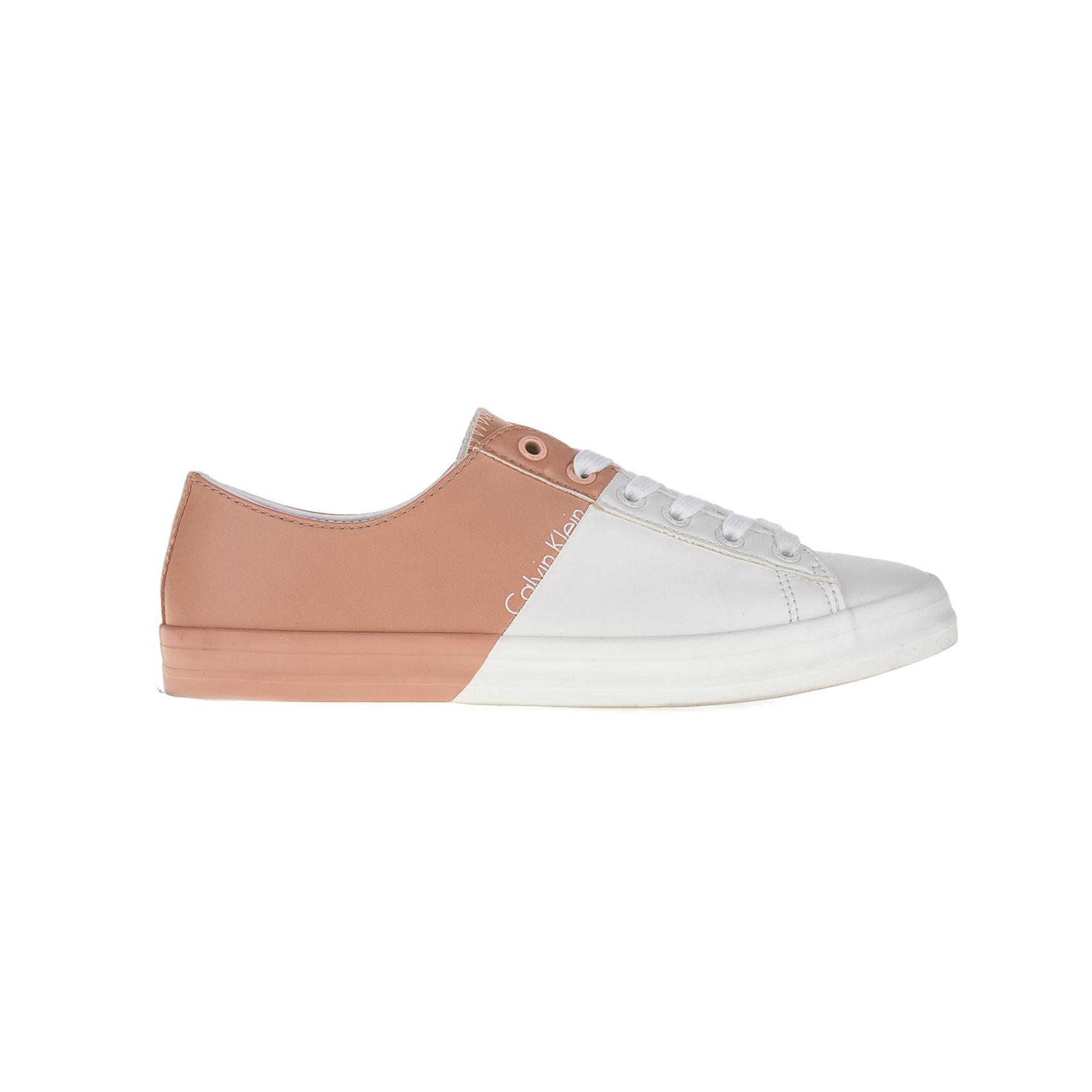 CALVIN KLEIN JEANS - Γυναικεία sneakers CALVIN KLEIN JEANS λευκά-μπεζ γυναικεία παπούτσια sneakers