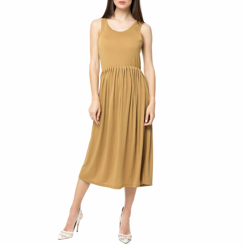 AMERICAN VINTAGE - Γυναικείο αμάνικο midi φόρεμα IRA71E16 AMERICAN VINTAGE μπεζ  γυναικεία ρούχα φορέματα μέχρι το γόνατο