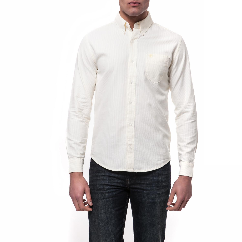 TIMBERLAND - Ανδρικό πουκάμισο TIMBERLAND λευκό-κίτρινο ανδρικά ρούχα πουκάμισα μακρυμάνικα