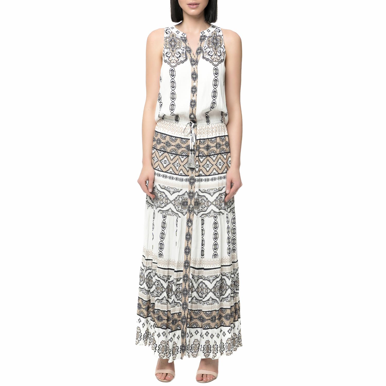 HALE BOB - Γυναικείο εμπριμέ μάξι φόρεμα HALE BOB λευκό-μπεζ γυναικεία ρούχα φορέματα μάξι
