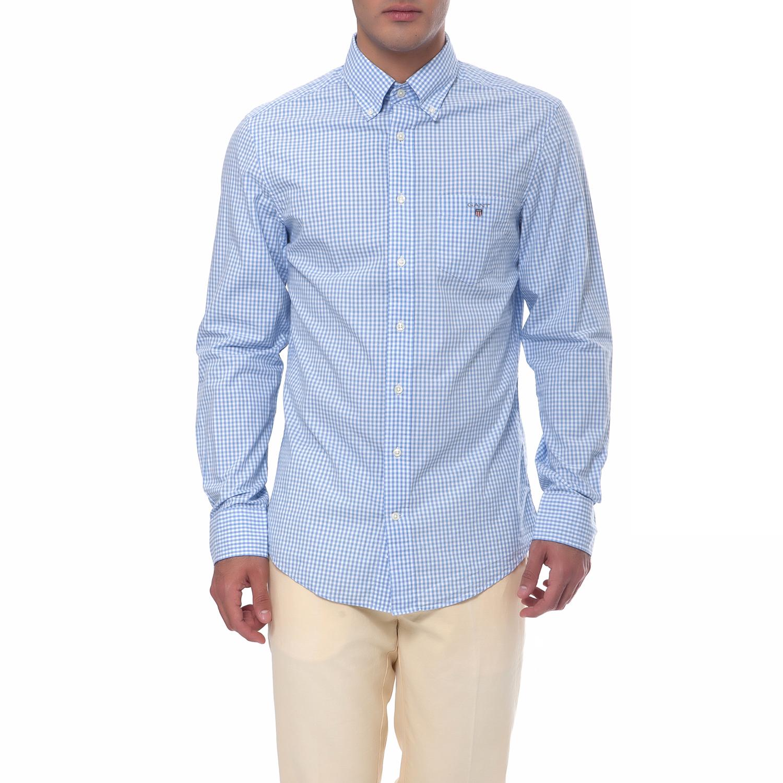 GANT - Ανδρικό πουκάμισο Gant μπλε ανδρικά ρούχα πουκάμισα μακρυμάνικα