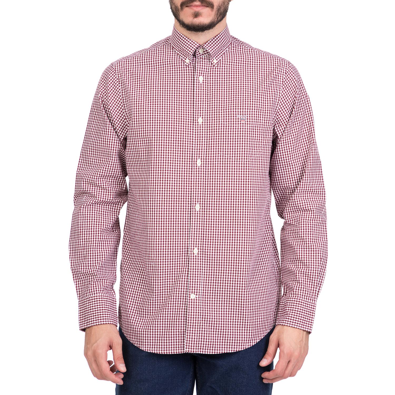 GANT - Ανδρικό μακρυμάνικο καρό πουκάμισο GANT κόκκινο ανδρικά ρούχα πουκάμισα μακρυμάνικα