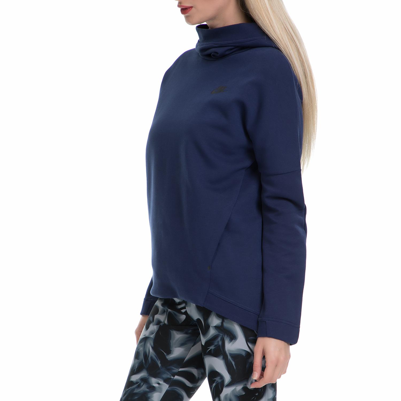 NIKE - Γυναικεία φούτερ μπλούζα ΝΙΚΕ NSW TCH FLC HOODIE PO μπλε γυναικεία ρούχα αθλητικά φούτερ μακρυμάνικα